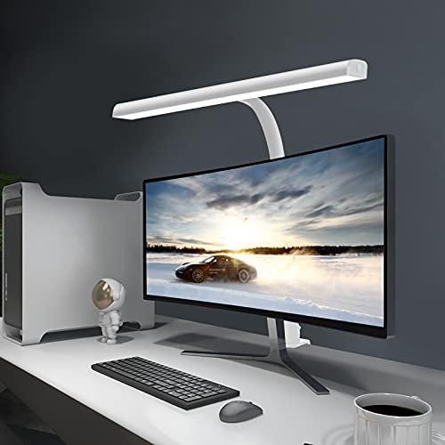 Lámpara de Escritorio LED Beigaon Luz de Lectura con Pinza USB de 10W, Cuello de Cisne, Temperatura de 3 Colores y 10 Niveles de Brillo Ajustables, Función de Memoria, Control Táctil Bilateral, Blanco