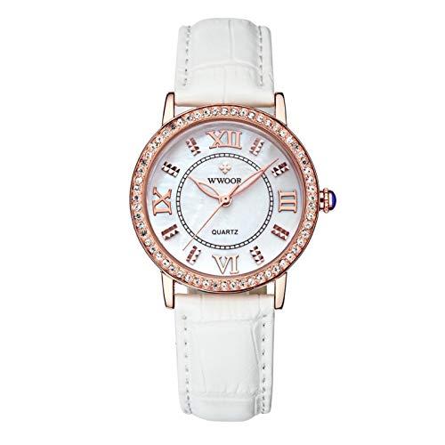 DAUERHAFT WWOOR Reloj de Pulsera con Movimiento de Cuarzo Elegante para Mujer, Reloj de Pulsera Informal con Movimiento de Cuarzo, Pantalla analógica, Alto Pulido(Oro Blanco)