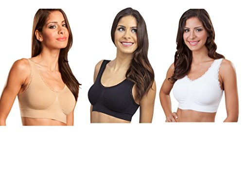 Genie Bra (3 Pack Womens Seamless, Wireless Bra, As Seen On TV, with Removable Pads for Extra Lift (Nude/Black/White, 2X)