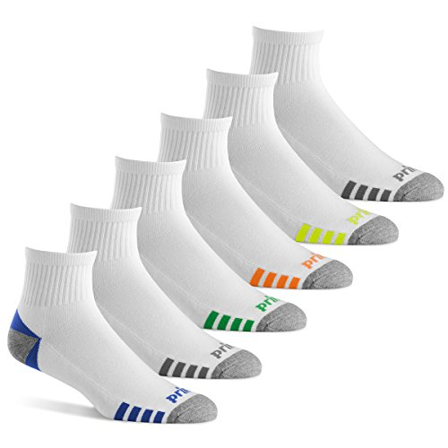 Prince Men's Quarter Performance Athletic Socks for Running, Tennis, and Casual Use (6 Pair Pack) (Men's Shoe Size 12-16 (US), White)