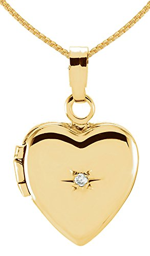 """Small 14K Yellow Gold Heart Locket with Genuine Diamond Accent Charm Pendant 1.75mm Rope Necklace, 18"""""""