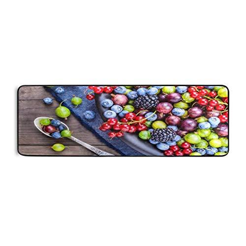 ZANSENG Extra Langer Badezimmer-Läufer-Teppich Rutschfester Mikrofaser-Badmatten-Teppich-Läufer für saugfähige Badezimmer-Bodenteppiche Maschinenwaschbar, Beeren Detox-Diät Bio-Früchte 24 * 72 Zoll