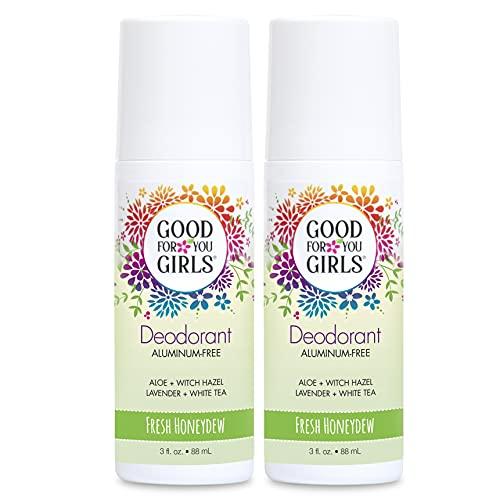 Good For You Girls Aluminum Free Natural Deodorant Roll-On Kids, Teens, Tween, Vegan (Honeydew Scent) (2)