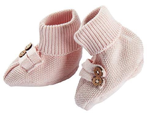 Bio Baby Strickschuhe 100% Bio-Baumwolle (kbA) GOTS zertifiziert, Rosé Melange, 62/68