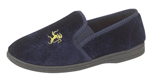 Boys Lion Motif Twin Gusset Slippers with rubber Sole Navy Blue size 3 (boys) UK