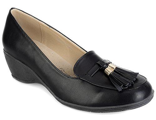 Greatonu Round-Toe Slip-on Tasseled Mid Wedge Heels Womens Black Court Shoes Size 6 US / 37 EU