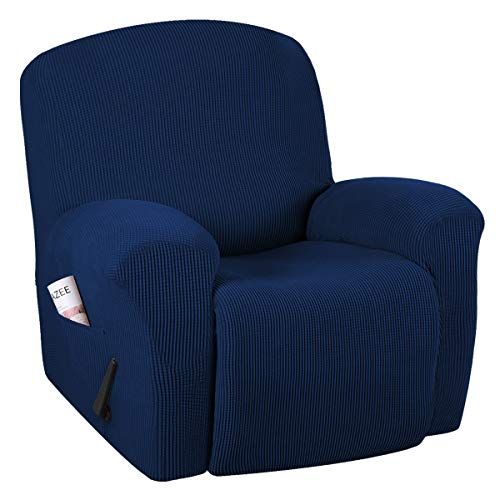 H.VERSAILTEX Super Stretch Couch Covers Recliner Covers Recliner Chair Covers Form Fitted Standard/Oversized Power Lift Reclining Slipcovers, Feature Soft Thick Jacquard, Navy, 1 Pack