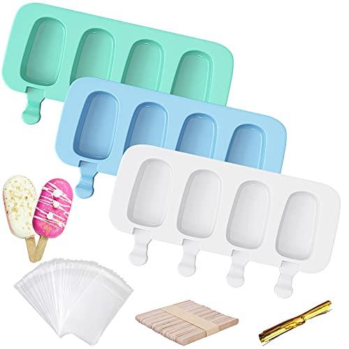 3 Piezas De 4 Cavidades Moldes Para Helado Silicona Popsicle Moldes Grado Alimenticio Sin BPA DIY 50 Palos De Madera, 50 Bolsas De Embalaje Y 50 Bridas Doradas