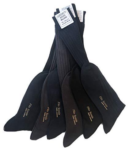 Lucchetti Socks Milano 6 PAIA calze da uomo lunghe filo di scozia 100% cotone rimagliate Made in Italy (2 NERO-2ANTRACITE-2 BLU, 10½11 39-42)