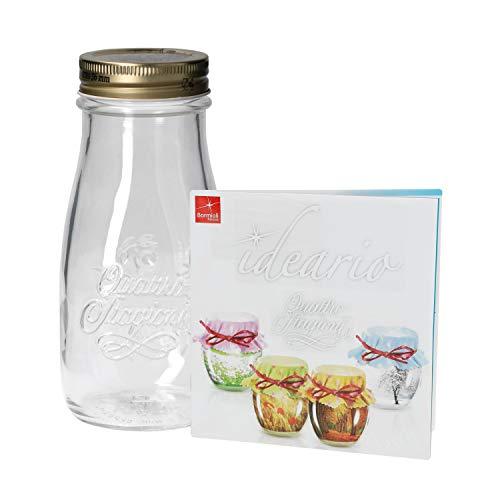 Quattro Stagioni Flasche 0,40l incl. Bormioli Rezeptheft - als Saft Smoothie Getränke Fläschchen, zur Dekoration oder als Einmachglas, Vorratsglas
