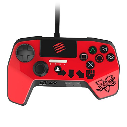 New Improved D-Pad - Mad Catz Street Fighter V FightPad PRO for PlayStation4 and PlayStation3 - Red - PlayStation 4