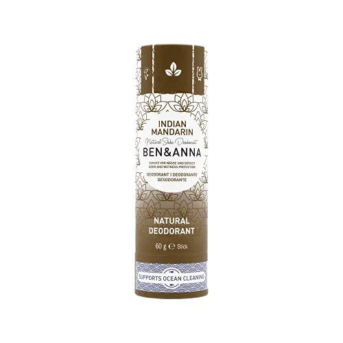 Desodorante natural Ben&Anna de soda, 100% sin aluminio, sin crueldad, vegano, certificado NATRUE, con manteca de karité orgánica y bicarbonato de sodio, fabricado en Alemania, mandarina india, 60 g