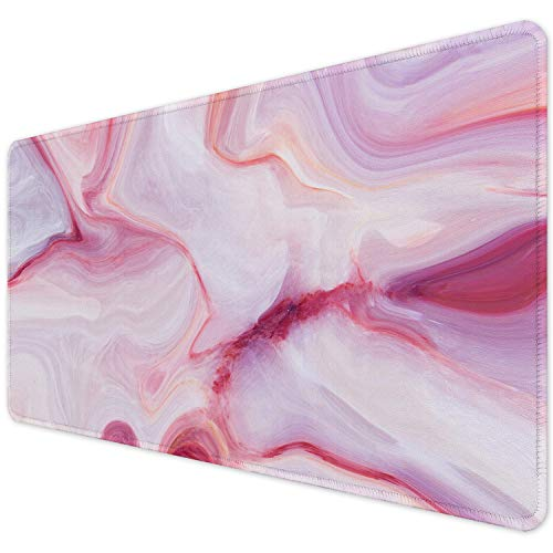"""ITNRSIIET Desk Pad, Mouse Pad,Office Desk Mat with Stitched Edges Non-Slip Waterproof, Easy Clean Desk Table Protector, Laptop Desk Writing Mat 35.4"""" x 15.7"""", Pink Marbling"""