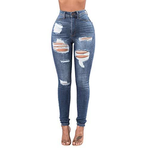 Ansenesna Jeans Damen High Waist Löcher Zerissene Elegant Röhrenjeans Frauen Lang Risse Ripped Denim Hosen Skinny Destroyed Jeans (Blau,M)