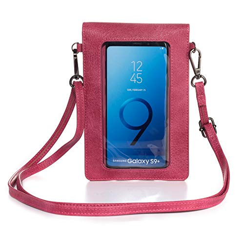 ebuymore Touch Screen Crossbody Phone Bag Shoulder Pouch Wallet Case for Samsung Galaxy S20 / S20+ / S10 / S9 Plus / Note10+ / Note 9/8 / A10 / A20 / A30S / A41 / A50 / A51 / Alcate (Pink)