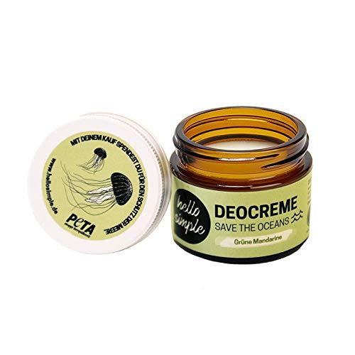 hello simple - Deocreme Deodorant Deo Creme (50 g) - SAVE THE OCEANS! - nachhaltige und zertifizierte Naturkosmetik - Deo Frauen Männer - ohne Aluminium, vegan, bio, plastikfrei(Grüne Mandarine)