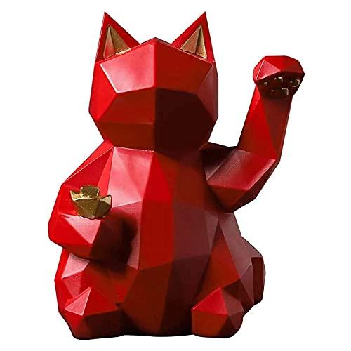 ZHUANYIYI シンプルな招き猫樹脂彫刻、アートスタチューモデル動物猫クラフト装飾、ホームショップ彫刻装飾...