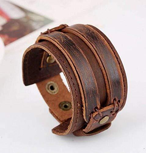 Pulsera de Cuero de Vanguardia con Personalidad Salvaje Pulsera de Cuero Vintage Joyas, WOZUIMEI, marrón, Ancho 4.5 x longitud 25CM