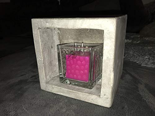 Teelichtofen Kerzenofen Teelichtheizung, Geschenkidee Beton Würfel mit Glas Kerzenhalter und Kerze