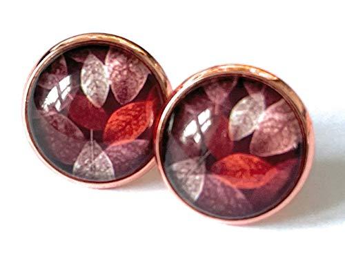 Herbstohrringe in roségold, Ohrstecker Herbst, Blattwerk, Ohrringe rot