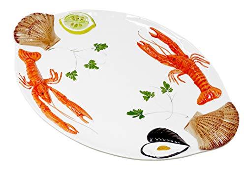 Lashuma Handgemachte Ovale Servierplatte aus Italienischer Keramik im Meeresfrüchtedesign, Großer Servierteller 50 x 32 cm