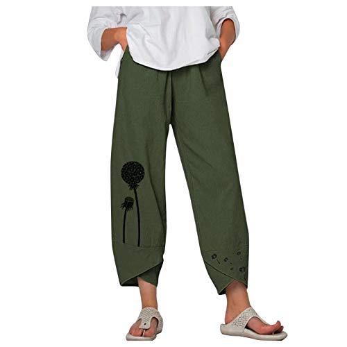 riou Pantalón de Pierna Ancha de Lino Informal para Mujer Pantalones Cortos Suelto Pantalones Cortos de Dormir elásticos y Transpirables para Yoga Jogging Fitness Running