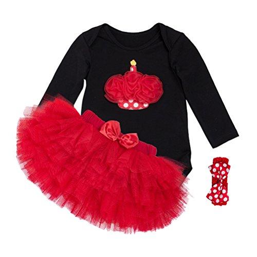 Zhhlinyuan Infant Cotton Romper Tutu Skirt+ Headband Set Bébé Girls Christmas Party Dress Photography Clothing