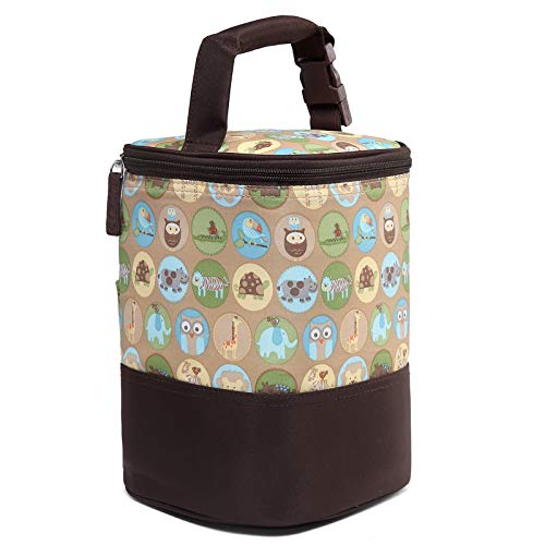 HOKEMP Insulated Breast Milk Cooler Baby Bottle Bag with Adjustable Strap on Stroller Fits 4 Bottles, Up to 8 Ounce Lunch Box Tote Storage Bag (Animals Pattern, Ice Pack not Included)