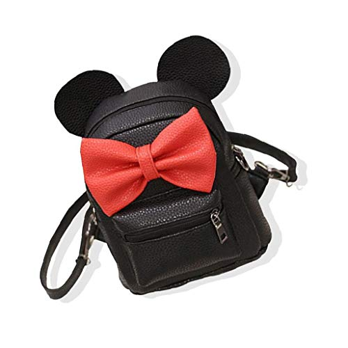 1PC Cartoon Backpack PU Leather Animal Ear Bowknot Mini Backpack Cute Shoulder School Bag Travel Satchel Casual Bag for Kids Girls for Shoe