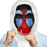 Demi Sharky Cute Orangutans Mask Halloween Costume Party Animal Full Head Cosplay Props Latex Adult (Baboon) (White)