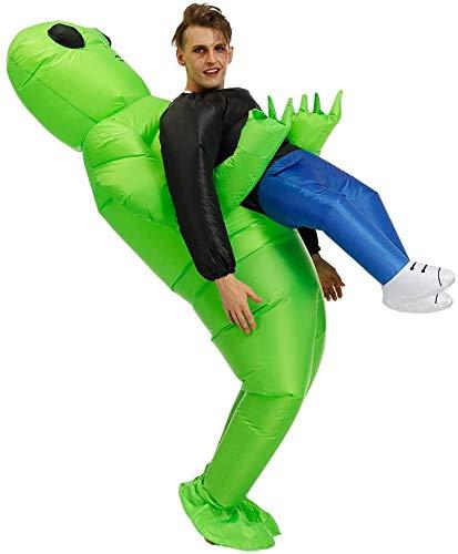 WOSNN Echden Aufblasbares Kostüm Alien Aufblasbares Kostüm Halloween Grün Carry Me Kostüm Herren Cosplay Kostüm Cosplay Outfit Halloween Party Schmuck von Tisch Haus und Garten (Erwachsene)