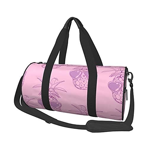 Bolsa de deporte de viaje, gafas de sol de piña redondas, portátil, ligera, duradera, bolsa de gimnasio para hombre y mujer