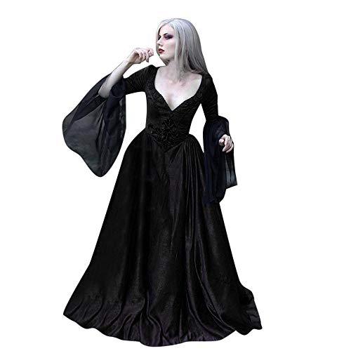 YEBIRAL Damen V-Ausschnitt Langarm Mittelalter Kleid Viktorianischen Königin Kleider Gothic Retro Prinzessin Renaissance Cosplay Kostüm Maxikleid Übergröße Abendkleid Weihnachts Karneval Party