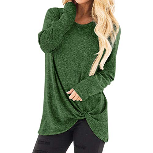 T Shirt Damen O-Ausschnitt Frauen Mädchen Shirts Elegant Sweatshirt Pullover Rundhals Casual Fitness Sport Tops Oberteil Tunic Tunika (XXL,1Grün)