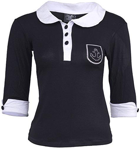 Küstenluder Damen Oberteil Bubikragen Anker Shirt Schwarz S