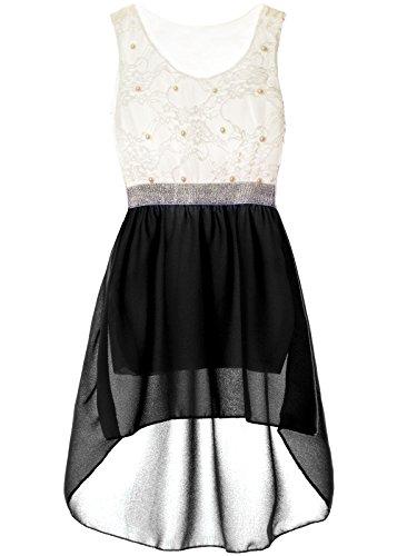 BEZLIT Mädchen Sommerkleid - Spitze, Kunstperlen 22286 Schwarz Größe 176