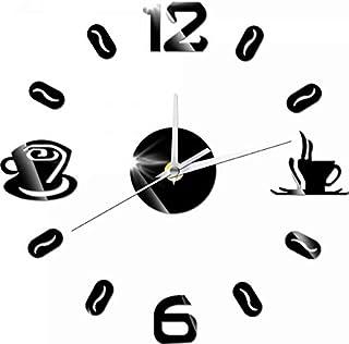 Joyevic DIY Clock Digital Number Coffee Cup Acrylic Sticker Self-adhensive Quartz Mute 3D Wall Clock Kitchen Home Decor Wa...