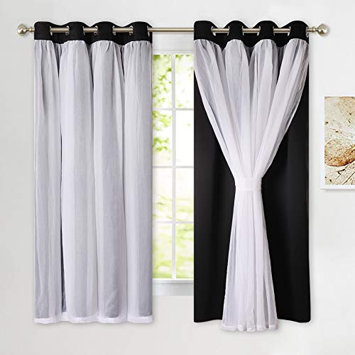 PONY DANCE Blackout Sheer Curtains - Decorative 2 Layers Voile Crushed Drapes Elegant Window Covering for Living Room, 52 x 63 inches, Black, Pack-2