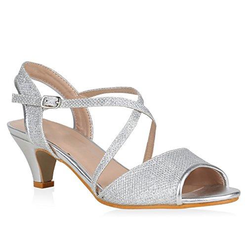 stiefelparadies Damen Schuhe Riemchensandaletten Glitzer Metallic Sandaletten Kitten Heel 148160 Silber Metallic Glitzer 36 Flandell