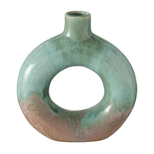 Deko Struktur Steingut Vase H21cm grün