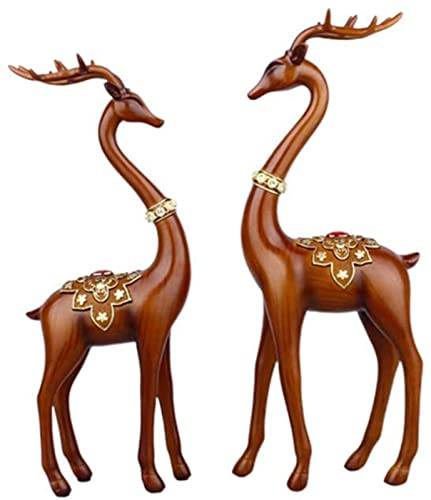 MWKL 2pcs Couple Reindeer Figurine Standing Table Couple Deer Sculptures Home Decor Collectible Figurines for Wedding Gifts Office Miniature Ornaments