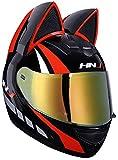 Allround Helmets Casco de Moto Niña Mujer Casco de Oreja de Gato Certificado por Dot Casco de Moto Integral Four Seasons Cascos modulares con Visera para Street Bike Racing Motocross ATV 2,M(54-56cm)