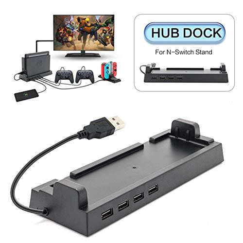EEEKit Dock hub per Nintendo Switch Dock, Dock di Trasmissione Dati USB 2.0 con 4 Porte di Uscita per Controller Wired PRO, Tastiera, Dock Joy-con, ECC.