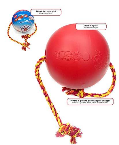 GimDog Tuggo Ball hondenspeelgoed van zware kunststof en katoenen touw, te vullen met water, S - 10,1 cm