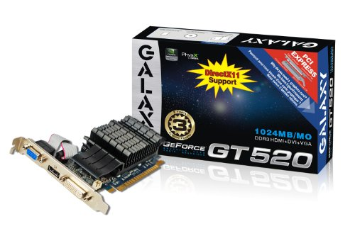 Galaxy GeForce GT 520 1 GB GDDR3 PCI Express 2.0 DVI/HDMI/VGA Passively Cooled Graphics Card, 52GGS4HX9DTX