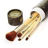 bambuswald Set de brochas profesionales para maquillarseǀ4 pinceles de maquillaje - con mango de bambú y cerdas sintéticas ultrasuavesǀ Juego básico: Cepillos cosméticos en su cajita