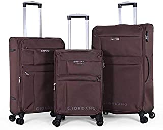 مجموعة حقائب سفر قابلة للجر من جيوردانو، 3 حقائب بـ 4 عجلات، لون بني - موديل 18004 (Art141213)