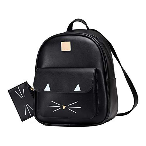 Logicstring Cute Cat Cartoon Girl'S Backpack Simple Fashion Leisure Backpack Cute Cat Mini Pu Shoulder Bag For Women Or Girls,3 Colors