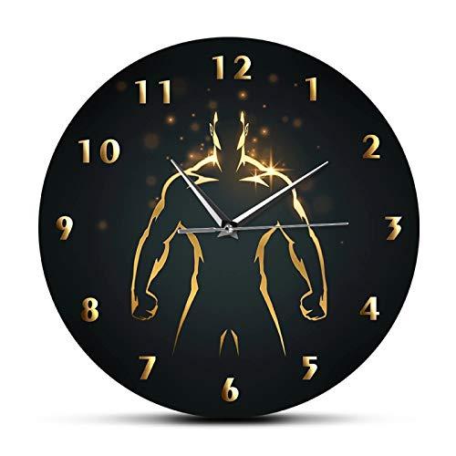 Reloj de Tiempo de Entrenamiento de Fuerza, Reloj Deportivo de Pared para Gimnasio, Fitness, Culturismo, Reloj de Pared de Barrido silencioso, decoración de Sala de Estar de Cueva para Hombre