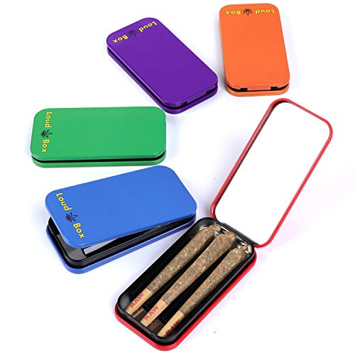 LoudLyfe - Loud Box 5 Pack Colorful Metal Joint Holder, Doob Tube, and Cigarette case, Holds 3 pre Rolled King Size Cones, Convenient Smoking Accessories